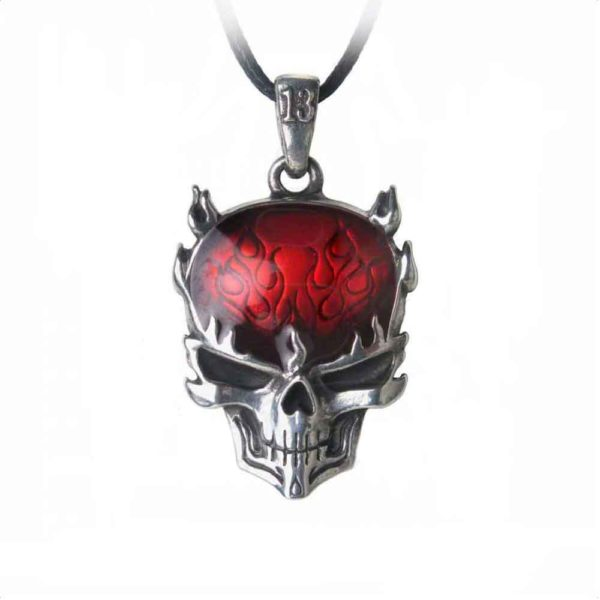 Flame Brain Skull Necklace