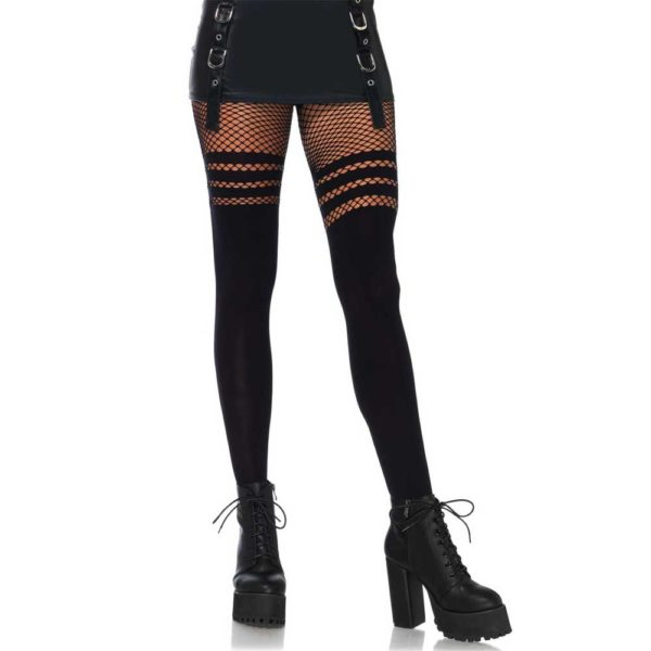 Suspender Pantyhose With Fishnet Stripes