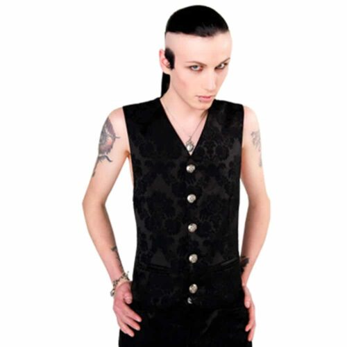 Dark Black Brocade Vest