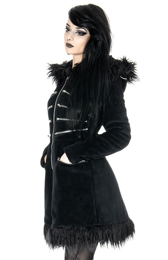 blak pixie coat open right pockets