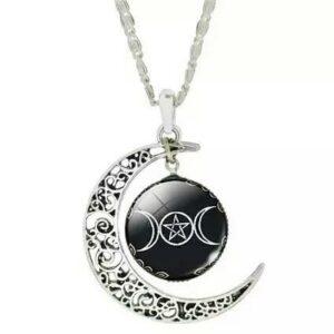Triple Goddess Moon Necklace