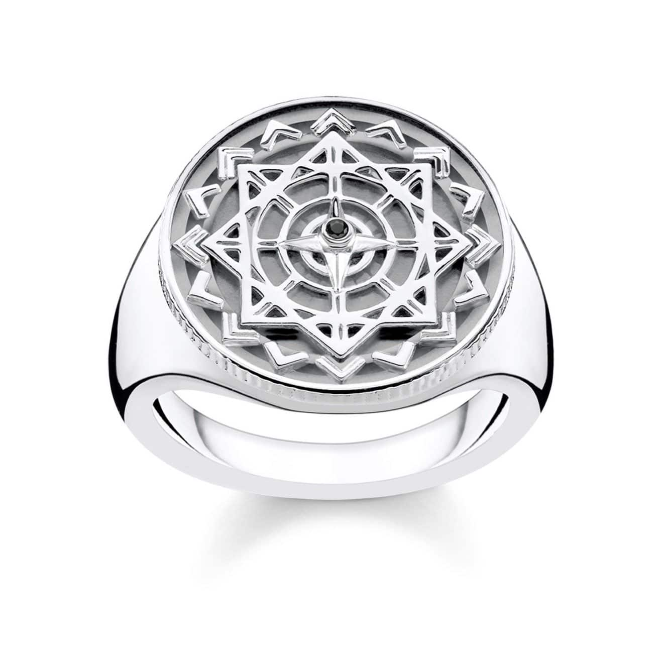 Vintage Compass Diamond Signet Ring