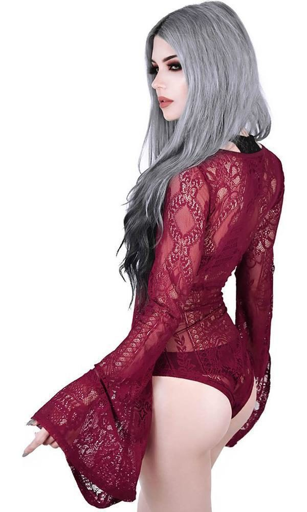Deadly Beloved Wine Bodysuit Right