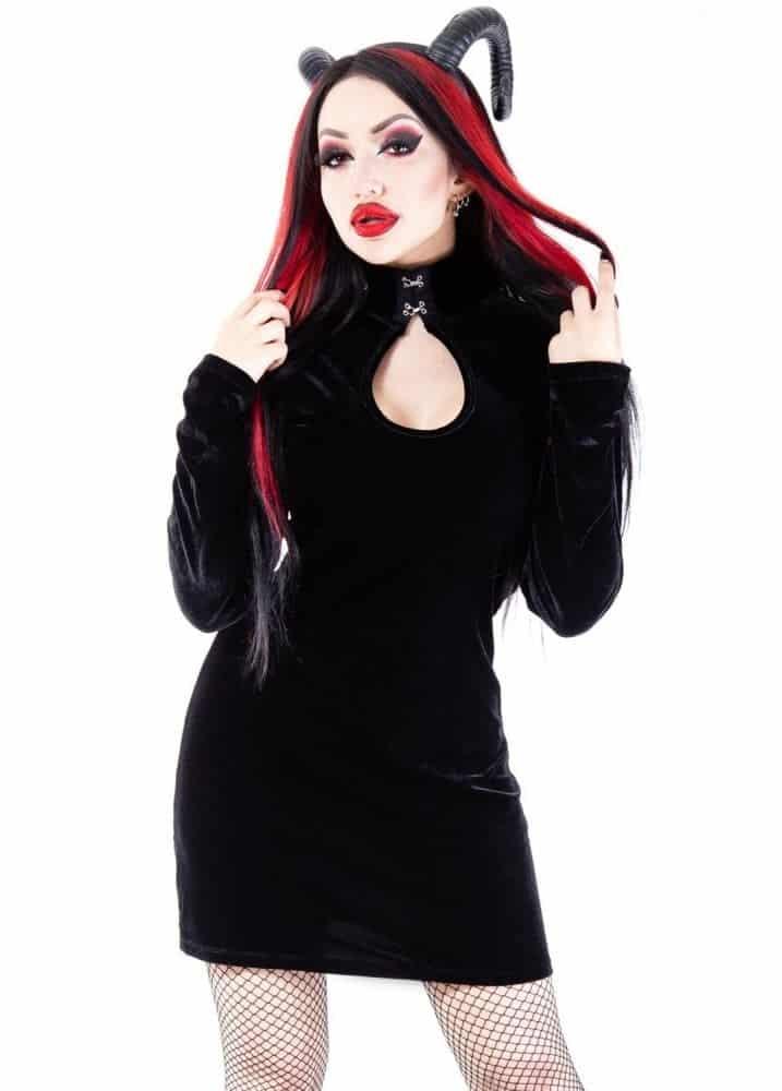 Nemain Gothic Velvet Mini Dress