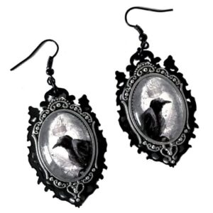 Raven Cameo Gothic Earrings