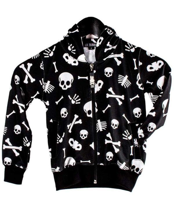 skulls bones hoodie front open