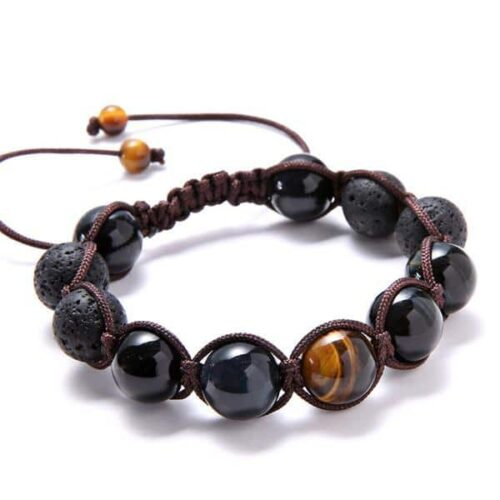 Obsidian's Eye Beaded Bracelet