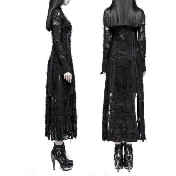 Long Ripped Black Dress