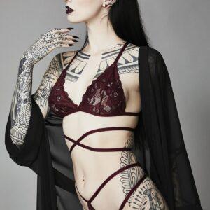 Merlot Silent Heart Wrap Lace Bra